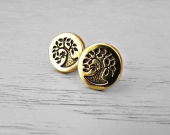 Tree of Life Earrings Stud, Gold Stud Earrings, Boho Ear Studs, Science Gifts, Norse Mythology Yggdrasil Tree, Gold Yoga Jewelry, 12mm Studs