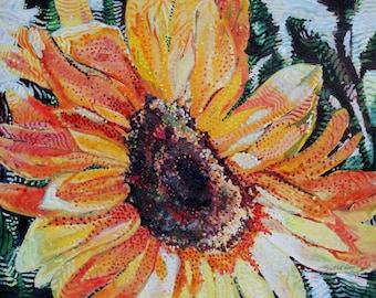 Sun flowers in print.
