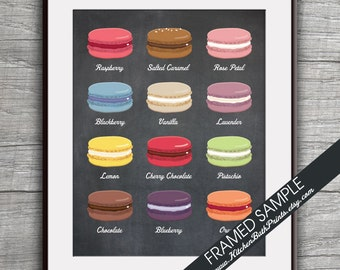 French Macaroon Cookie (B) - Kitchen Prints - Art Print (Featured in Vintage Chalkboard) Cute Dessert Pastry Kitchen Art Prints