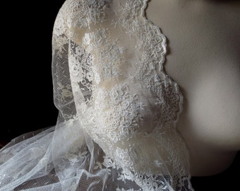 Ivory Lace Embroidered on Point d'Esprit for Bridal Gowns a la BHLDN, Christening, Blessing Gowns, Downton Abbey, Shrugs, Shawls