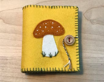 Orange Toadstool Wool Felt Needle Case