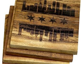 Chicago, Illinois Skyline Flag Coasters - Set of 4 Engraved Acacia Wood Coasters