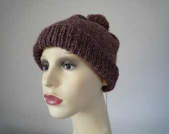 Dark brown hand knit wool and hemp beanie hat with pompom