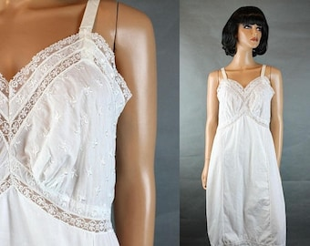 ON SALE Vintage Full Slip Sz 38 L 50s 60s Carol Brent White Cotton Blend Embroidered Free Us Shipping