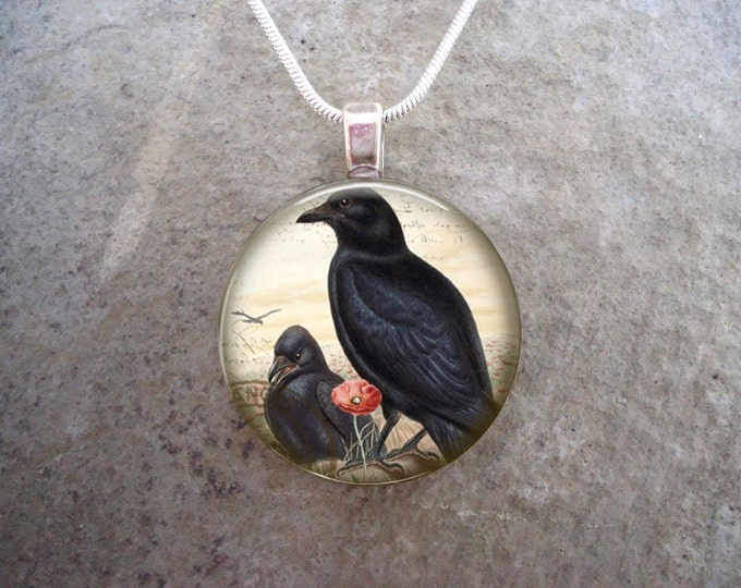Crow Jewelry - Glass Pendant Necklace - Victorian Bird 28