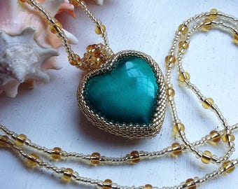 Gold Beaded Teal Heart Pendant Necklace Two-tone-gold
