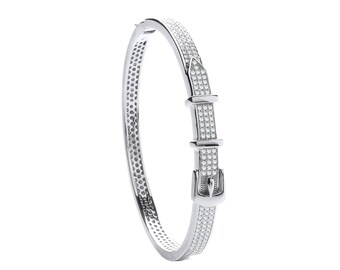 925 Sterling Silver Cz Micro Pave Belt & Buckle Design Bangle Hallmarked