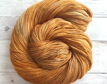 "Hand Dyed Tonal Semisolid Yarn, ""Gold Rush"", 80/20 Superwash Merino Nylon Sock Yarn"