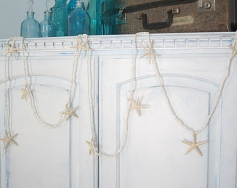 Beach Decor Nautical Starfish Garland, Nautical Decor, Nassa Shell Garland, Seashell Garland, Wedding Garland, Beach House Decor, 8FT #WNSFG