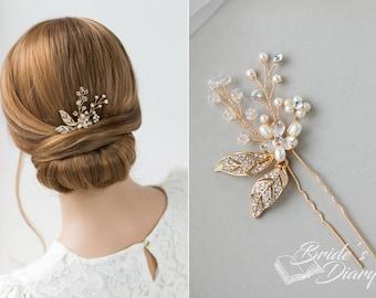 1pcs Bridal hair pins, Pearl Hair pins, gold hair pins with leaves, vintage hair jewelry