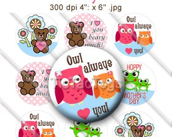 Mother's Day Bear Owl Frog Sayings Bottle Cap Images Digital Art Collage Set 1 Inch Circle Stickers 4x6 - Instant Download