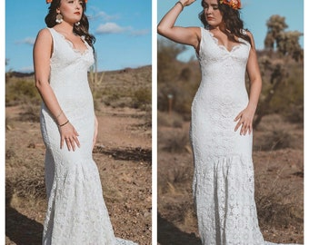 Crochet wedding dress, boho wedding dress, crochet lace wedding dress, beach wedding dress, casual wedding dress, hippie wedding dress,
