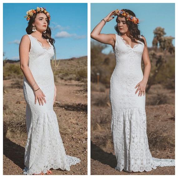 Crochet wedding dress boho wedding dress crochet lace junglespirit Image collections
