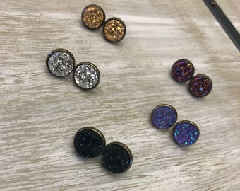 12mm Antiqur Bronze Bezel With Colored Druzy