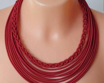 Ethnic Necklace, Ethnic Jewelry, Tribal Necklace,Tribal Jewelry,African Jewelry,Multistrand Necklace,Red necklace,Boho jewelry Boho Necklace