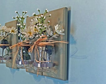 Rustic Mason Jar Wall Sconces Nursery Wall Sconces Set of 3 Gift For Her