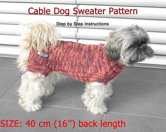 Dog Sweater Pattern - 40 cm (16'') back length/ DIY Dog Sweater/ Hand Knit Dog Sweater Pattern/ How to knit a dog sweater
