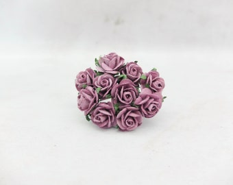 Mauve paper roses - 20mm mulberry paper roses - 2 cm paper roses with wire stems