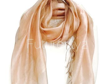 Dauble Layered Silk Organza Beige Scarf / Spring Summer Scarf / Evening Scarf / Gifts For Her / Women Scarves / Handmade Accessories