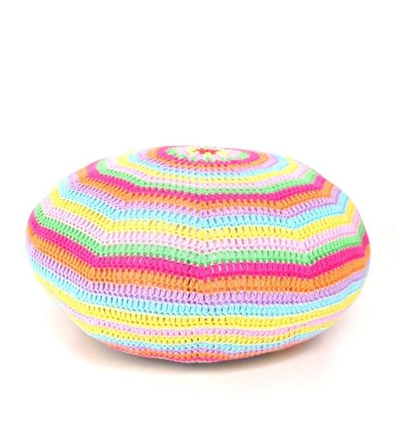Crochet Pouf Ottoman Floor Cushion Round Pillow Pattern