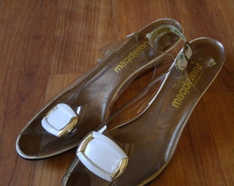 60s Slingback clear vinyl peep toe gold wedges by Magdesians of California