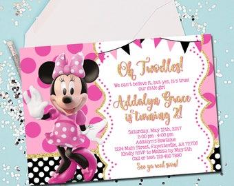 Pink Gold Glitter Minnie Mouse Birthday Invitation Invite