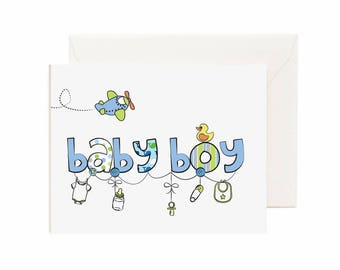 """Baby Shower/ Congrats """"Baby Boy"""" Greeting Card"""