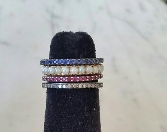 Sapphire eternity band | silver stacking ring | sapphire thread band
