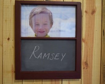 Red Distressed Antique Window Frame Picture Frame with Chalkboard