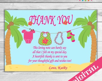 DIGITAL Baby Luau Baby Thank you card
