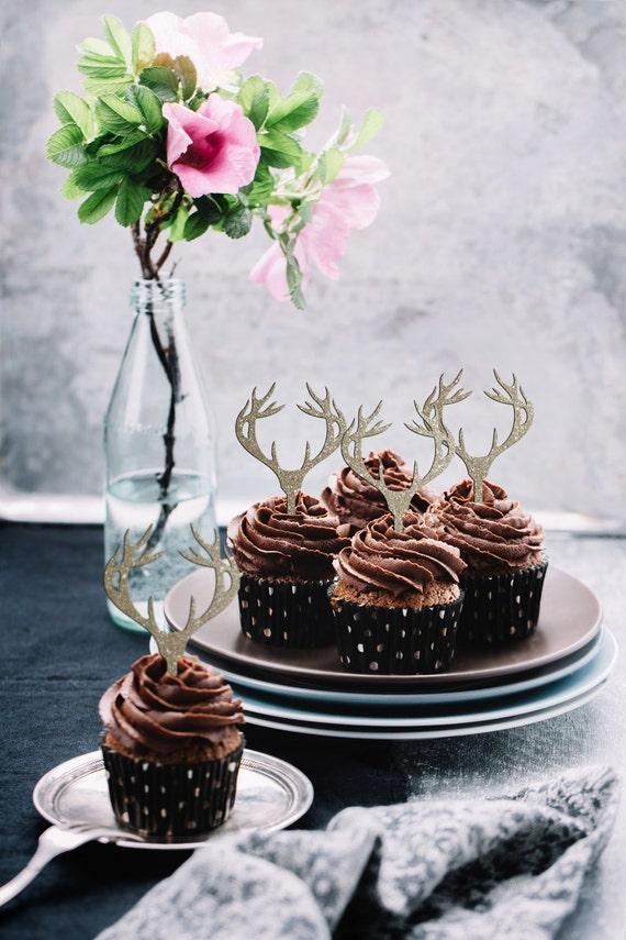 Antler Cupcake Topper, Deer Cupcake Topper, Deer Head, Antler Cake Topper, Deer Head Cupcake Topper, Antler Cupcake, Deer Cupcake