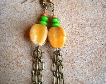 Ivory Stone Chain Earrings Green & Wooden Beads
