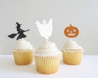 Halloween Cupcake Toppers - Halloween Toppers - Glitter Halloween Cupcake Toppers - Halloween Party Decorations