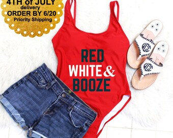 Red White & Booze Swimsuit. Red White and Booze. 4th of July outfit women.  Fourth of july swimsuit. 4th of july swimsuit. USA swimsuit.
