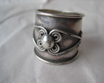 Cigar Band Wire Swirl Sterling Ring Vintage 925 Silver Size 6 1/4