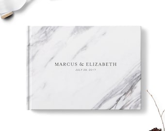 Wedding guestbook, Custom sign in signature book, Landscape hardcover guest book, Marble design, Blank or lined, Reception decor, gb0116