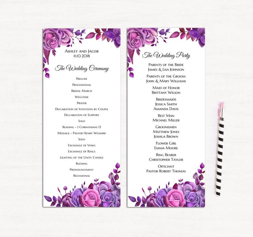 Floral Programm Vorlage lila Rosen Hochzeit Programm druckbare