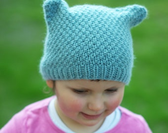Ruskin cat-ear Hat PDF knitting pattern (instructions)