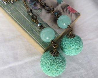 Deocrative Chain Pull Pair with Light Aqua Acrylic Beads, Swarovski Crystals and Antiqued Brass Accents