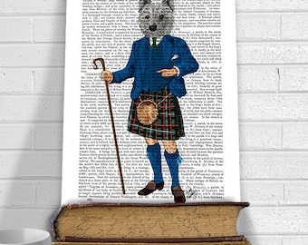 West Highland Terrier in Kilt, Westie Print westie gift westy art scottish gift scottish baby scottish decor leaving gift cool mens gift