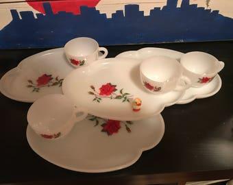 Vintage Rose Tea Cup and Platter
