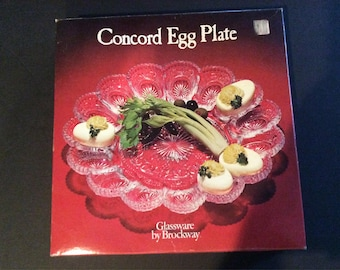 Concord Vintage Egg Plate in original box, perfect condition!! Farmhouse decor-kitchen-hostess-gift-holiday-deviled egg-stuffed egg