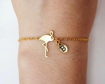 flamingo bracelet, Personalized bracelet, initial bracelet, Personalized Jewelry, friendship bracelet,bird bracelet,animal jewelry
