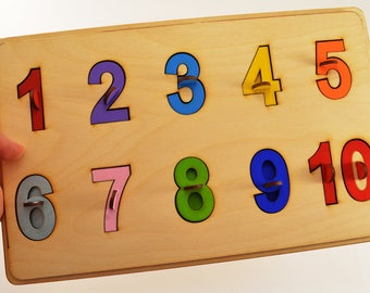 Wooden Toys First puzzle Wooden number puzzle Christmas gift Baby gift Montessori puzzle Educational Wooden baby gift Toddler Toys Baby toys