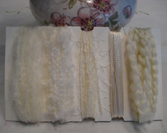 specialty yarn art fiber embellishment bundle, Vanilla Cream