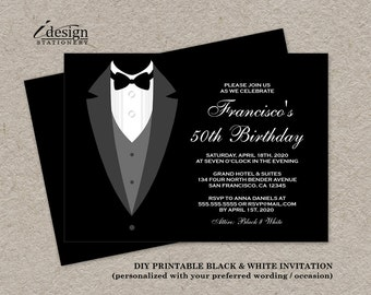 Black tie invitation etsy black and white birthday invitation with tuxedo printable all black invitations for gala prom stopboris Image collections