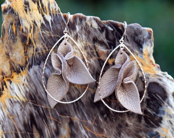 Leather Petals Bronze lambskin + rose gold teardrop statement earrings • dimensional earrings • large but lightweight • pearlescent leather