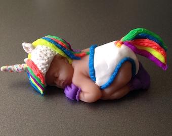 "OOAK 2.5"" Rainbow Unicorn Sleeping Baby Polymer Clay Cake Topper Keepsake Figurine Gift"
