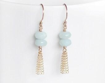 """amazonite tassel earrings, gemstone earrings, pretty amazonite jewelry, natural stone earrings, dainty seafoam blue earrings, """"saint tropez"""""""