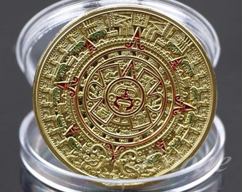 Mayan Aztec Prophecy Calendar Commemorative Coin Art Collection with free case coin